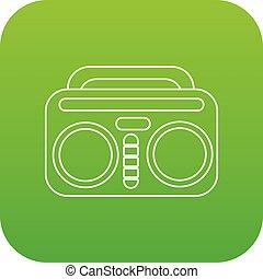 vindima, boombox, vetorial, verde, ícone