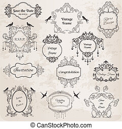 vindima, bordas, e, desenho, elements-, para, casório, convite, aniversário, saudações, scrapbook, -, em, vetorial