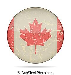 vindima, botão, bandeira, de, canadá, -, grunge, estilo