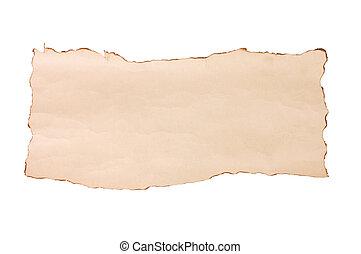 vindima, branca, papel, envelhecido, isolado
