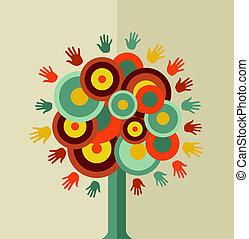 vindima, círculo, árvore, coloridos, mão