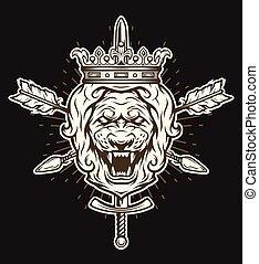 vindima, cabeça, crown., símbolo, leão