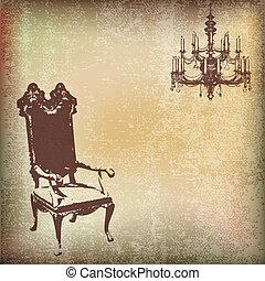 vindima, cadeira, fundo