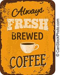 vindima, café, lata, sinal