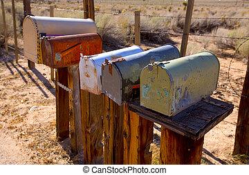 vindima, caixas postais, califórnia, oeste, envelhecido, ...