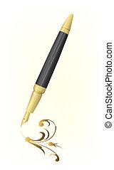 vindima, caneta, desenho, arabesco, dourado