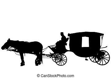 vindima, carruagem, cocheiro