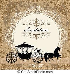 vindima, carruagem, desenho, cartão