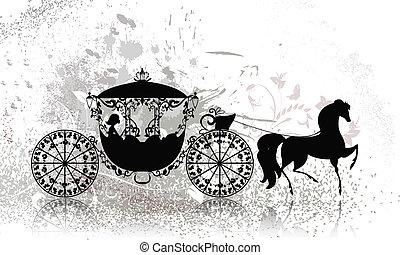 vindima, carruagem, grunge, cavalo