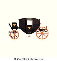 vindima, carruagem, ilustração, vetorial, retro, fundo, branca, transporte