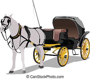 vindima, carruagem, vetorial, horse.