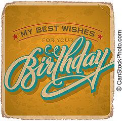 vindima, cartão aniversário, (vector)