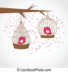 vindima, cartão, com, dois, cute, pássaros, em, retro, gaiolas