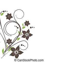 vindima, cartão, com, mão, desenhado, flores