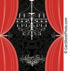 vindima, cartão, com, projeto floral, lustre, e, cortinas