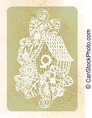 vindima, cartão, desenho, para, cartão cumprimento, convite, cartaz, scrapbook., cute, doodle, floral, pássaro, house., mão, desenhado, em, vector.