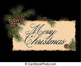 vindima, cartão natal, com, abeto, árvore.