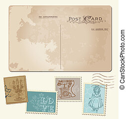 vindima, cartão postal, e, selos taxa postal, -, para,...