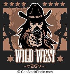 vindima, cartaz selvagem oeste, com, cruzado, potros