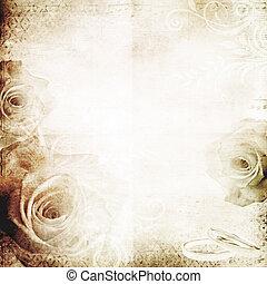 vindima, casório, fundo, com, rosas