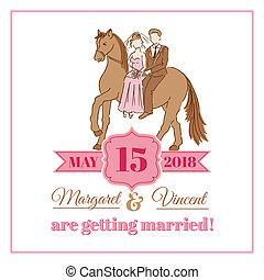 vindima, casório, -, vetorial, convite, scrapbook, desenho, cartão