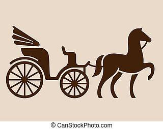 vindima, cavalo, carruagem, desenhado