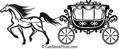 vindima, cavalo, carruagem