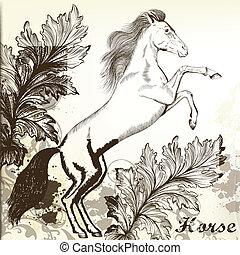 vindima, cavalo, vetorial, desenhado, mão