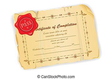vindima, certificado