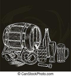 vindima, cerveja, experiência preta, ilustração