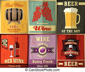 &, vindima, cerveja, s, desenho, cartaz, vinho