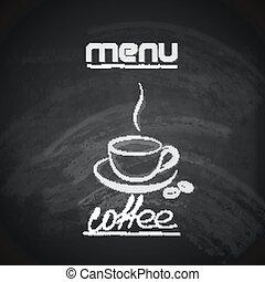 vindima, chalkboard, menu, desenho, com, um, xícara café