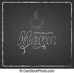 vindima, chalkboard, menu, desenho