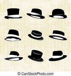 vindima, chapéus, vetorial, cobrança