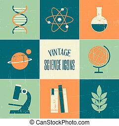 vindima, ciência, ícones, cobrança