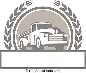 vindima, cima, caminhão, retro, pico, círculo