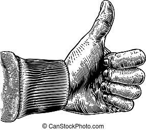vindima, cima, retro, sinal, mão, polegar, woodcut