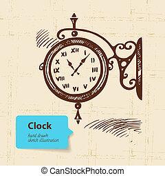 vindima, clock., mão, rua, ilustração, desenhado