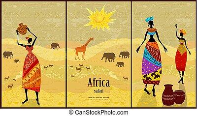 vindima, cobrança, bonito, africano, bandeiras, mulheres