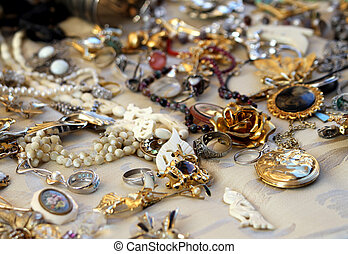 vindima, colares, e, jóia, venda, em, a, loja antigüidade