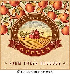 vindima, colheita, maçã, coloridos, etiqueta