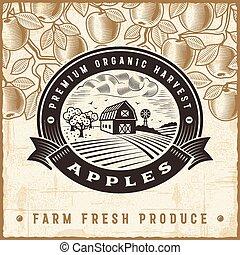 vindima, colheita, maçã, etiqueta