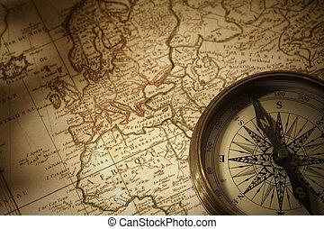 vindima, compasso, ligado, um, mapa