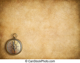 vindima, compasso, papel, fundo, em branco, bronze