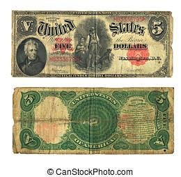 vindima, conta, dólar, moeda corrente e. u., cinco