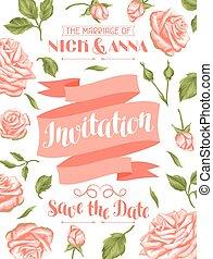 vindima, convite, calligraphic, roses., modelo, casório, flores, texto, cartão