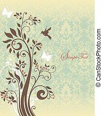 vindima, convite, cartão, com, ornate, elegante, retro, abstratos, floral, árvore, desenho