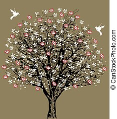 vindima, convite casamento, cartão, com, elegante, retro, floral, árvore, desenho