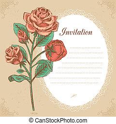 vindima, convite, ilustração, vetorial, rosa vermelha, cartão