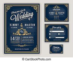 vindima, convite, luxuoso, chalkboard, fundo, casório